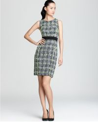 Milly Sheath Dress Tweed Jasmine Piped - Lyst