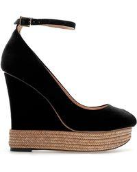 Zara Covered Wedge Peep Toe - Lyst