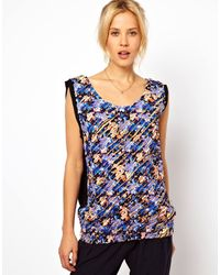 ASOS Collection Asos Premium Shell Top in Distressed Floral Print - Lyst