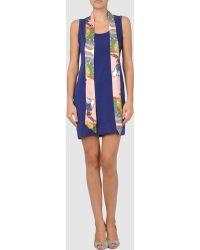 Love Moschino Sleeveless Round Neckline Blue Short Dress - Lyst