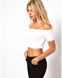 ASOS Collection Asos 90s Crop Top with Off The Shoulder Detail - Lyst