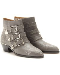 Chloé Studded Leather Buckle Ankle Boots - Lyst