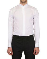 Dior Homme Mandarin Collar Cotton Shirt white - Lyst
