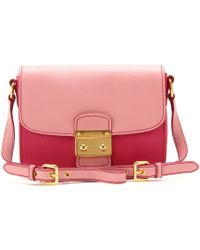 72103a862a92 Miu Miu - Two Tone Leather Shoulder Bag - Lyst