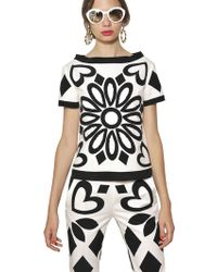 Moschino Crepe De Chine and Stretch Cotton Top - Lyst