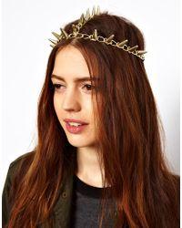 ASOS - Gold Spike Hair Crown - Lyst