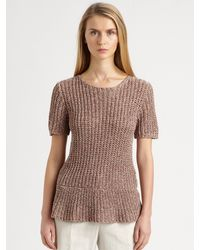 Brunello Cucinelli Knit Peplum Top - Lyst