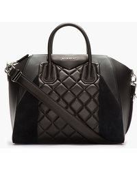 Givenchy Black Quilted Leather Suede Antigona Duffle Bag - Lyst