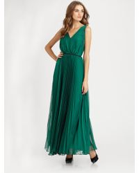 Halston Heritage Pleated Gown - Lyst