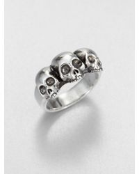 King Baby Studio Triple Skull Ring - Lyst