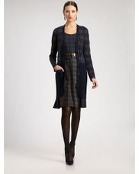 Oscar de la Renta Plaid Knit Coat - Lyst