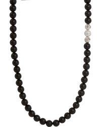 Shamballa Jewels - Black Onyx Diamond White Gold Bead Necklace - Lyst