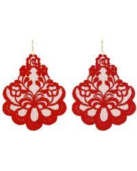 Tita' Bijoux Oleandro Red Lace Earrings - Lyst