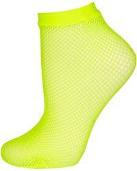 TOPSHOP - Fluro Yellow Fishnet Socks - Lyst