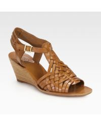 Tory Burch Nadia Leather Wedge Sandals - Lyst