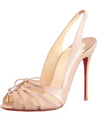 Christian Louboutin Etica Patent Leatherpvc Slingback Red Sole Sandal Nude - Lyst