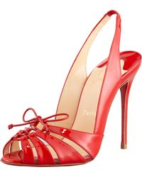 Christian Louboutin Corsetica Patent Leatherpvc Slingback Red Sole Sandal Rouge - Lyst