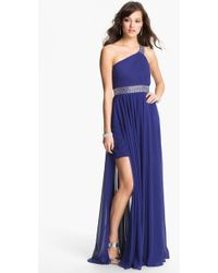 JS Boutique One Shoulder Embellished Chiffon Gown - Lyst