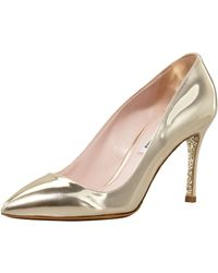 Miu Miu Specchio Pointed Pump Gold - Lyst