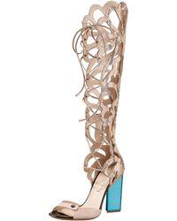 Nicholas Kirkwood - Scalloped Snakeskin Sandal Boot - Lyst