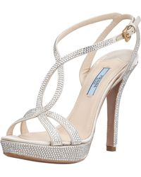 Prada Satin Crystal Strass T-Strap Sandal silver - Lyst