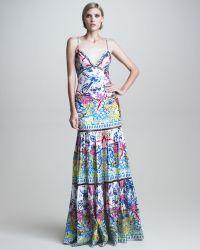 Roberto Cavalli Tiered Printed Mermaid Gown - Lyst