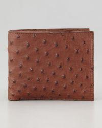 Santiago Gonzalez Ostrich Wallet Brown