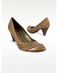 Alberto Gozzi - Light Brown Rippled Front Genuine Leather Pump Shoes - Lyst