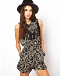 ASOS - Asos Paisley Playsuit with Festival Fringing - Lyst
