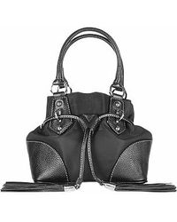Buti - Black Nylon And Leather Mini Bucket Bag - Lyst
