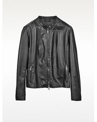Forzieri Black Leather Motorcycle Jacket - Lyst