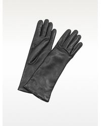 FORZIERI - Womens Cashmere Lined Black Italian Leather Long Gloves - Lyst