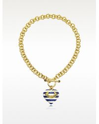 Juicy Couture - Striped Heart Link Necklace - Lyst