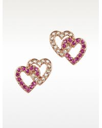 Juicy Couture - Pave Double Heart Stud Earrings - Lyst