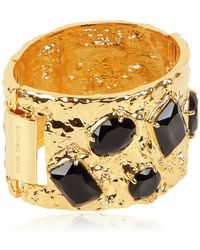 MICHAEL Michael Kors - Jet Black Crystal Gold Plated Bangle - Lyst