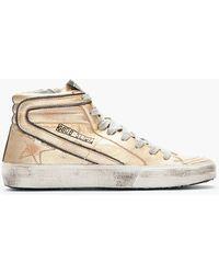 Golden Goose Deluxe Brand Metallic Leather Mid Top Slide Sneakers - Lyst