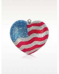 FORZIERI - Us Flag Crystal Jewelled Heart Clutch - Lyst