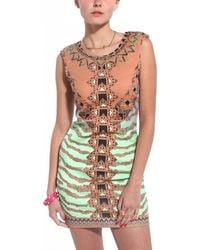 Akira Tribal Printed Sleeveless Dress in Mocha Mint green - Lyst