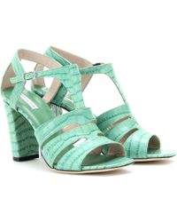Dries Van Noten Crocoembossed Tstrap Leather Sandals - Lyst