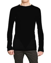 Gareth Pugh - Perforated Cotton Round Neck Jumper - Lyst
