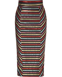 L'Wren Scott Black-Multi Striped High Waisted Pencil Skirt multicolor - Lyst