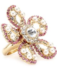 Miu Miu Ara Pearl and Crystal Bead Embellished Ring - Lyst