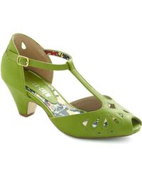 ModCloth Take A Little Dip Heel in Lime - Lyst