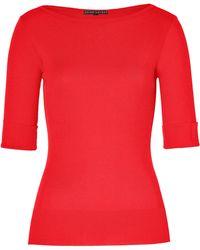 Ralph Lauren Black Label Bright Red Mercerized Cotton Paula Boatneck Tshirt - Lyst