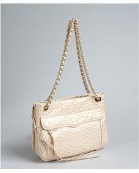Rebecca Minkoff Light Gold Ostrich Embossed Leather Swing Shoulder Bag - Lyst