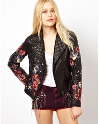 River Island Floral Hand Painted Leather Jacket - Lyst