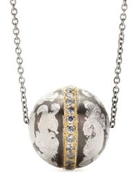 Roberto Marroni - Niello Engraved Silver Ball Pendant Necklace With Grey Diamonds And 18kt Gold - Lyst