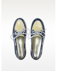 Sonia Rykiel - Blue and Cream Patent Leather Boat Shoes - Lyst