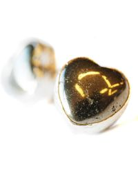 Toosis Pyrite Heart Stud Earrings - Lyst