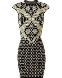 Alexander McQueen Honeycomb Stretch Knit Dress - Lyst